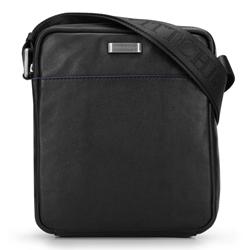 Маленькая мужская сумка через плечо из мягкой матовой кожи, черный, 92-4U-303-1, Фотография 1