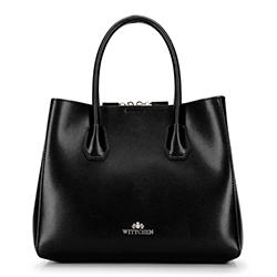 Маленький кожаный саквояж трапециевидной формы, черный, 92-4E-605-10, Фотография 1