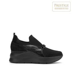 Женские замшевые кроссовки с цепочкой, черный, 93-D-653-1-40, Фотография 1