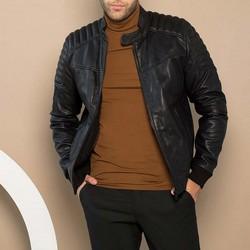 Мужская кожаная куртка-бомбер, черный, 91-09-251-1-S, Фотография 1