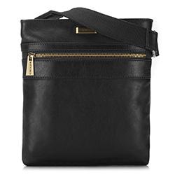 Мужская кожаная сумка через плечо с карманом, черный, 91-4U-314-1, Фотография 1