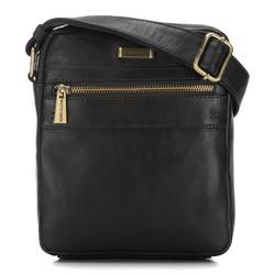 Мужская кожаная сумка через плечо с карманом, черный, 91-4U-315-1, Фотография 1