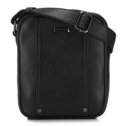 Мужская кожаная сумка через плечо с заклепками, черный, 91-4U-317-1, Фотография 1