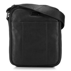 Мужская кожаная сумка с открытым карманом, черный, 91-4U-316-1, Фотография 1