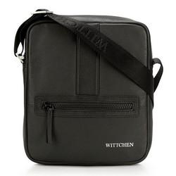 Мужская маленькая  кожаная сумка-мессенджер, черный, 92-4U-901-10, Фотография 1