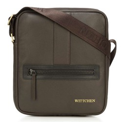 Мужская маленькая  кожаная сумка-мессенджер, темно-коричневый - светло-коричневый, 92-4U-901-51, Фотография 1