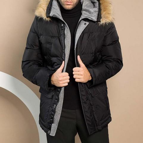 Мужская пуховая куртка с капюшоном, черный, 91-9D-450-7-M, Фотография 1