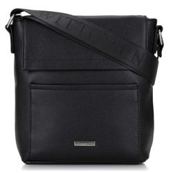 Мужская сумка через плеч с элегантным клапаном, черный, 29-4P-005-1, Фотография 1