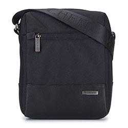Мужская сумка через плечо с кожаной вставкой маленькая, черный, 93-4U-901-1, Фотография 1