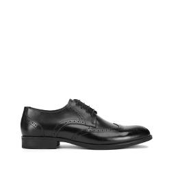 Мужские классические кожаные броги, черный, 93-M-911-1-41, Фотография 1