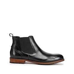 Мужские кожаные ботинки черные, черный, 93-M-521-1-39, Фотография 1