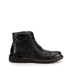 Мужские кожаные ботинки с отстрочкой, черный, 93-M-905-1-44, Фотография 1