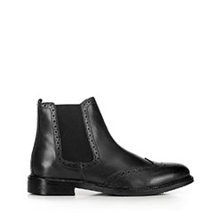 Мужские кожаные ботинки с перфорацией, черный, 91-M-300-1-39, Фотография 1