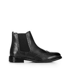Мужские кожаные ботинки с перфорацией, черный, 91-M-300-1-45, Фотография 1