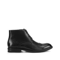 Мужские кожаные ботинки с перфорацией, черный, 93-M-917-1-45, Фотография 1
