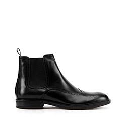 Мужские кожаные ботинки с перфорацией, черный, 93-M-918-1-45, Фотография 1