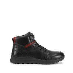 Мужские кожаные ботинки со вставками, черный, 93-M-908-1-44, Фотография 1