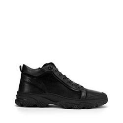 Мужские кожаные кроссовки с застежкой-молнией, черный, 93-M-904-1-44, Фотография 1