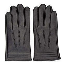 Мужские  утепленные кожаные перчатки с декоративными строчками, черный, 39-6-718-1-M, Фотография 1