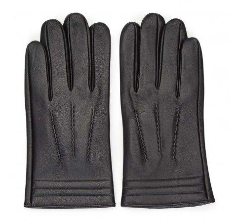 Мужские  утепленные кожаные перчатки с декоративными строчками, черный, 39-6-718-1-V, Фотография 1