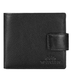 Мужской кожаный кошелек на кнопке, черный, 21-1-270-10L, Фотография 1