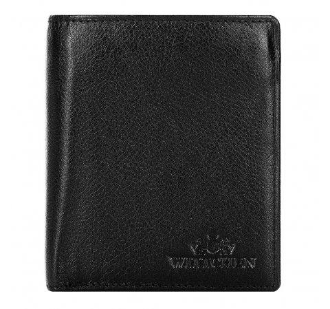 Мужской кожаный кошелек в минималистском стиле, черный, 21-1-009-10L, Фотография 1