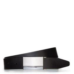 Мужской кожаный ремень с автоматической пряжкой, черный, 91-8M-305-1-10, Фотография 1