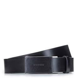 Мужской кожаный ремень с автоматической пряжкой, черный, 92-8M-350-1-90, Фотография 1