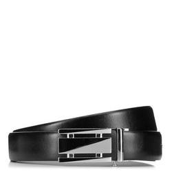Мужской кожаный ремень с большой автоматической пряжкой, черный, 91-8M-307-1-90, Фотография 1