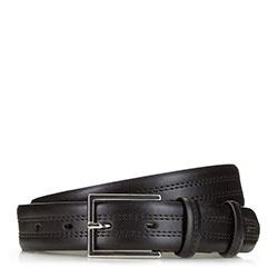 Мужской кожаный ремень с двойной строчкой, черный, 91-8M-327-1-12, Фотография 1