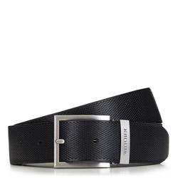 Мужской кожаный ремень с классической пряжкой, черный, 91-8M-302-1-90, Фотография 1