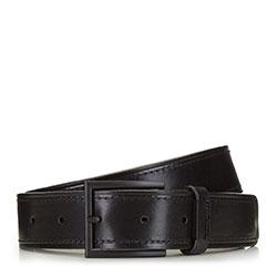 Мужской кожаный ремень с матовой пряжкой, черный, 91-8M-323-1-90, Фотография 1