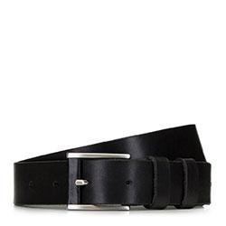 Мужской кожаный ремень с прямоугольной пряжкой, черный, 91-8M-318-1-90, Фотография 1