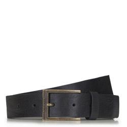 Мужской кожаный ремень с винтажной пряжкой, черный, 91-8M-325-1-12, Фотография 1