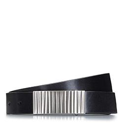 Мужской кожаный ремень с волнистой пряжкой, черный, 92-8M-951-1-10, Фотография 1