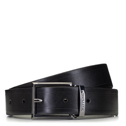 Мужской кожаный ремешок с текстурой в полоску, черный, 91-8M-314-1-13, Фотография 1
