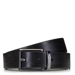 Мужской кожаный ремешок с текстурой в полоску, черный, 91-8M-314-1-90, Фотография 1