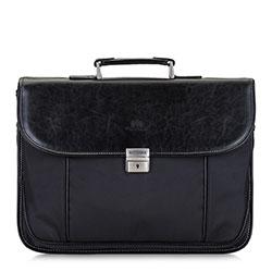 Мужской портфель с контрастной нитью, черный, 29-3-636-1, Фотография 1