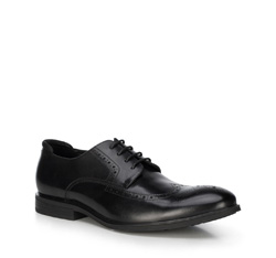 Мужские кожаные броги, черный, 89-M-504-1-43, Фотография 1