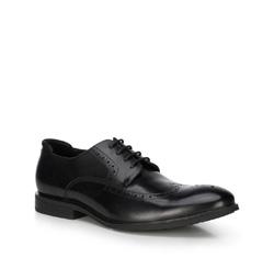 Мужские кожаные броги, черный, 89-M-504-1-44, Фотография 1