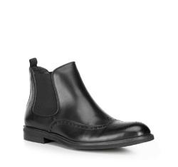 Мужские ботинки челси из перфорированной кожи, черный, 89-M-914-1-45, Фотография 1