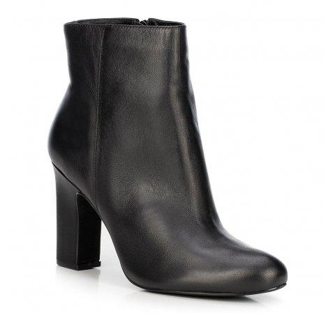 Классические кожаные сапоги на каблуке, черный, 89-D-754-5-41, Фотография 1