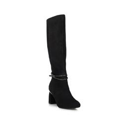 Замшевые сапоги на каблуке с ремешком на щиколотке, черный, 89-D-910-1-38, Фотография 1