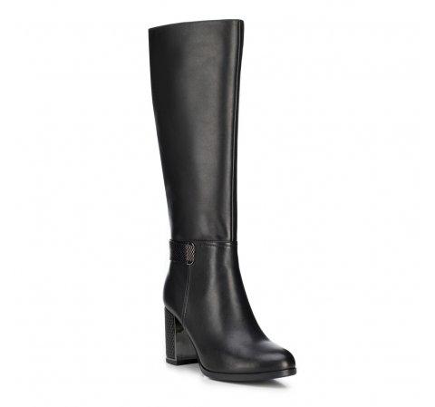 Утепленные кожаные сапоги на каблуке с тисненым ремешком, черный, 89-D-962-2-39, Фотография 1