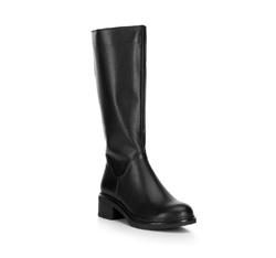 Женские кожаные сапоги на низком каблуке, черный, 89-D-965-1-36, Фотография 1