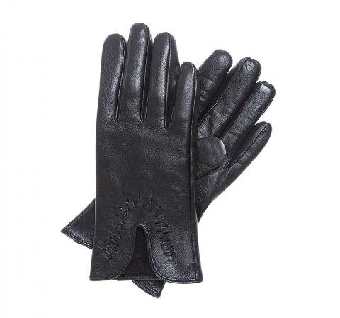 Женские кожаные перчатки с вырезом, черный, 39-6-552-LB-S, Фотография 1
