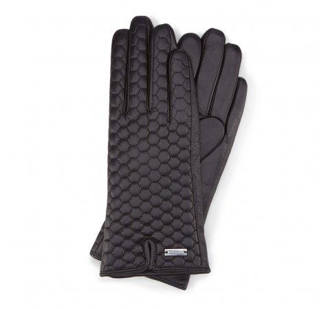 Женские стеганые кожаные перчатки, черный, 39-6-574-S-S, Фотография 1