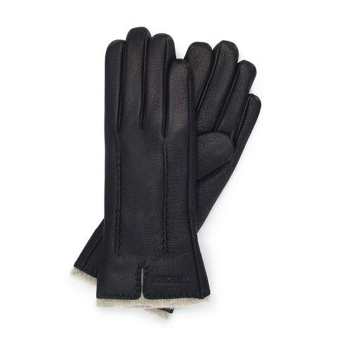 Женские кожаные перчатки с шерстяной подкладкой, черный, 44-6-511-1-S, Фотография 1
