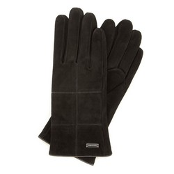 Женские замшевые перчатки с строчкой, черный, 44-6-912-1-L, Фотография 1