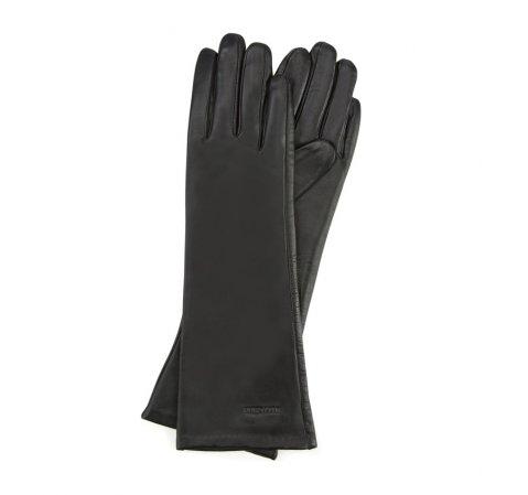 Женские длинные кожаные перчатки, черный, 45-6L-233-1-L, Фотография 1